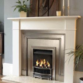 61″ Claremont Limestone package with Gazco convector gas fire