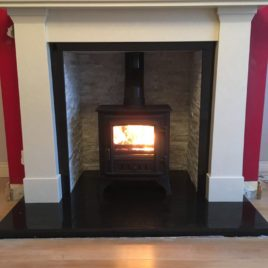 54″ Darwin Marble surround complete with oyster panels and stovax stockton 5kw