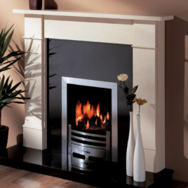 54″ Ariel Milan Cream with black granite inset and hearth