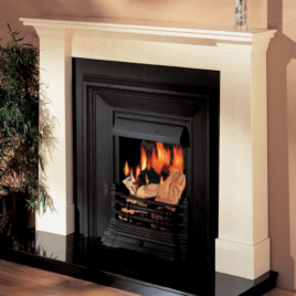 54″ Darwin Milan cream Fireplace complete with granite inset and hearth