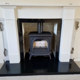 61″ Claremont Limestone surround complete with Gazco Huntingdon 30 Stove