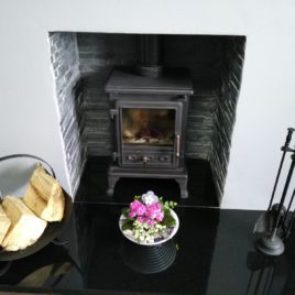 Firefox package with Staggered black slate chamber and granite hearths