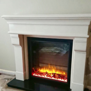 """Recently installed Gazco skope 75r with custom made granite slips and 60"""" marble fireplace"""