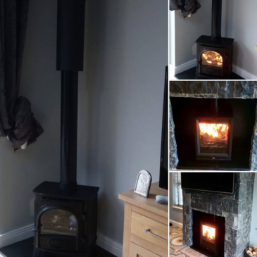 Recently installed Stovax Stockton with Stovax class 1 flue run & Stovax View T in a granite cladded chimney breast