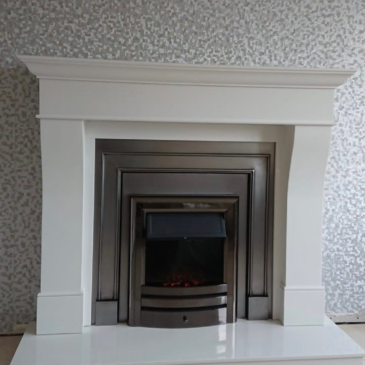 Recently installed fireplace & fire in Lisburn