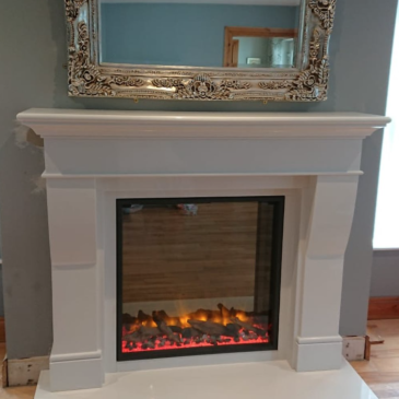 Recent installation of 60inch Royal White Fireplace & Gazco Skope fire
