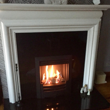 Recent installation of Limestone Fireplace & the new Gazco HE Log fire